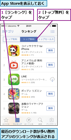1[ランキング]をタップ      ,2[トップ無料]をタップ      ,App Storeを表示しておく,最近のダウンロード数が多い無料アプリのランキングが表示される