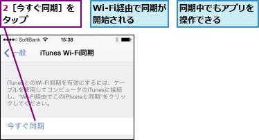 2[今すぐ同期]をタップ      ,Wi-Fi経由で同期が開始される  ,同期中でもアプリを操作できる