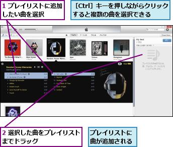 1 プレイリストに追加したい曲を選択    ,2 選択した曲をプレイリストまでドラッグ        ,プレイリストに曲が追加される,[Ctrl]キーを押しながらクリックすると複数の曲を選択できる