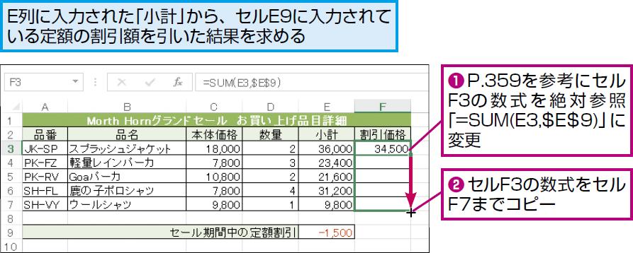 excelでセル参照を固定したまま数式をコピーするには excel関数