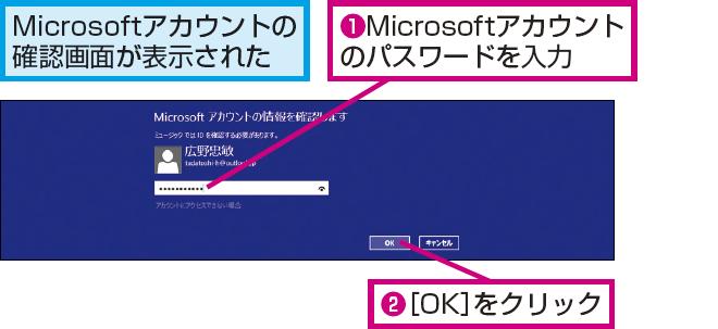 Microsoft アカウントのパスワードを 入力する