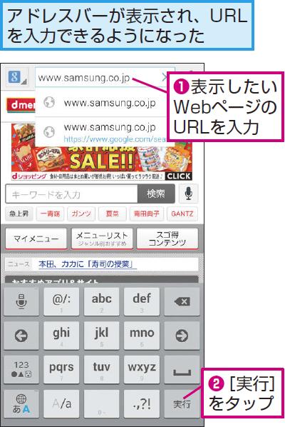 表示したいWebページのURLを入力する