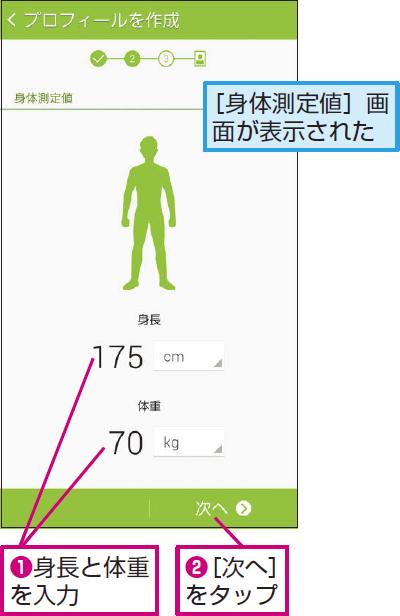 身長と体重を入力する