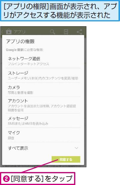 アプリのインストールを実行する