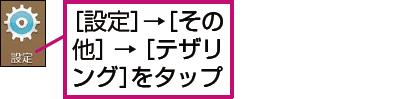 URBANOでテザリングをオンにする画面を表示する例