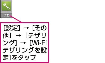 AQUOS SERIEでWi-Fiテザリングの設定画面を表示する例