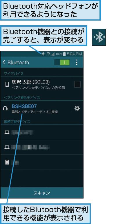 Bluetooth機器がペアリングされた