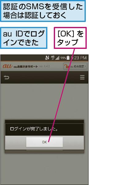 auお客さまサポートのトップ画面を表示する
