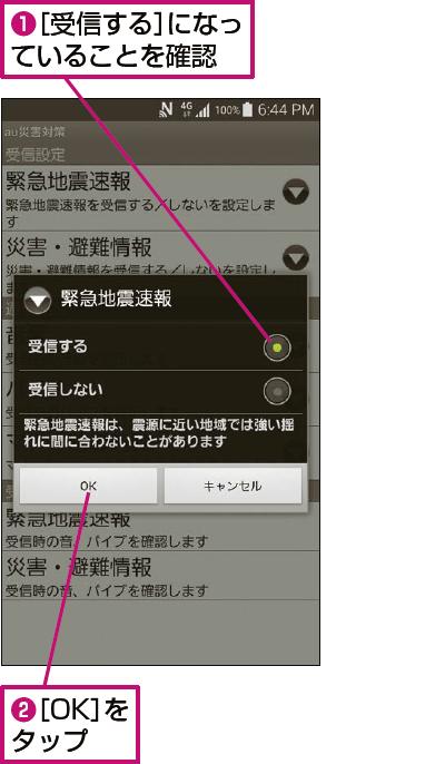 緊急地震速報のメール受信設定が表示された