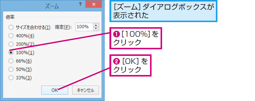 画面の表示倍率を変更する