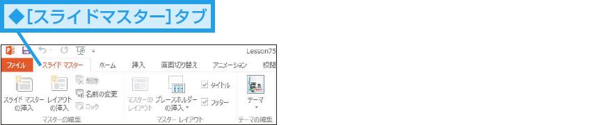 スライドマスター専用のタブが表示される