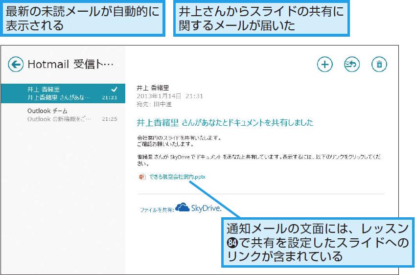 [メール]アプリの画面が表示された
