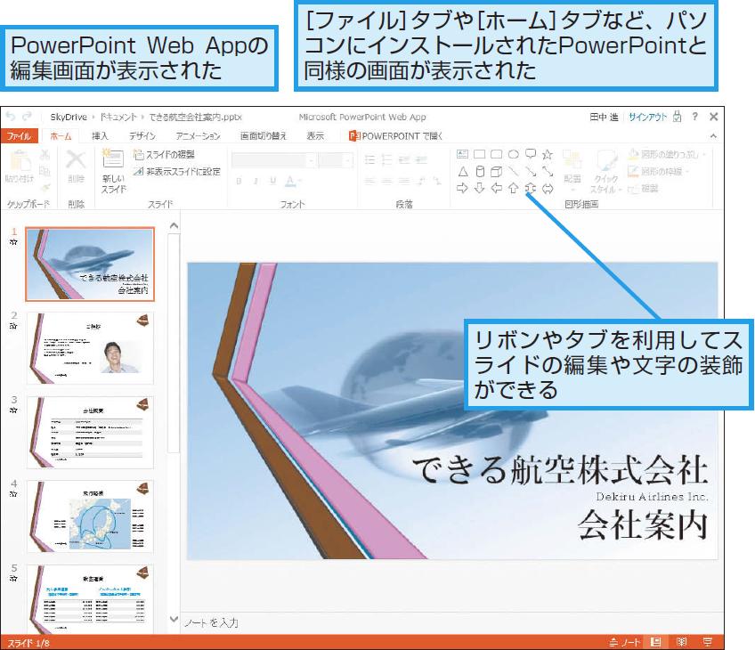 PowerPoint Web Appの編集画面が表示された