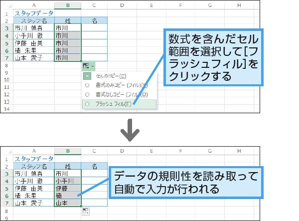 フラッシュフィル(Excelのみ)