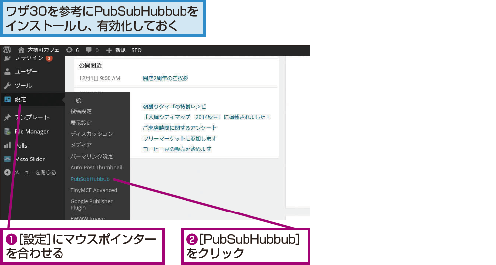 PubSubHubbubの設定を確認するには