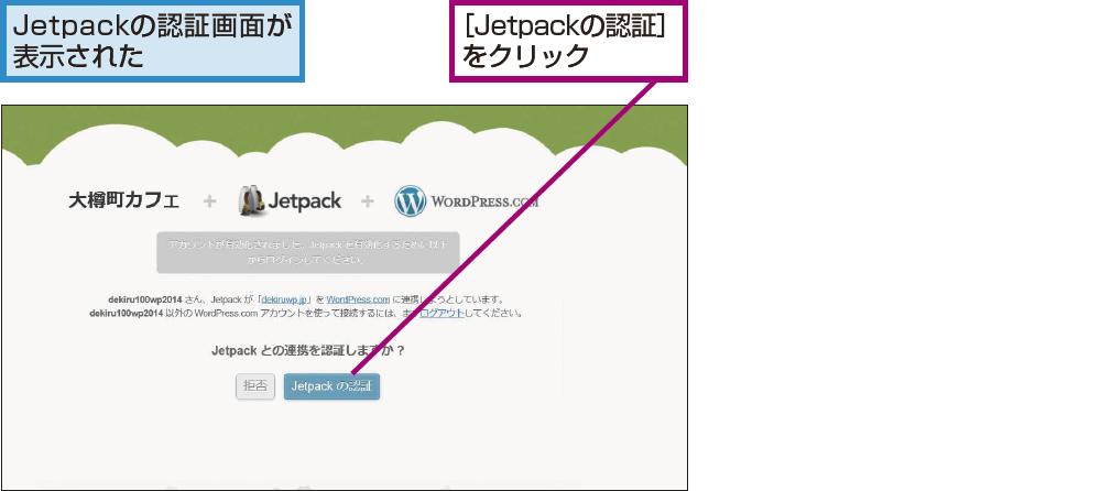 Jetpackとの連携を認証する