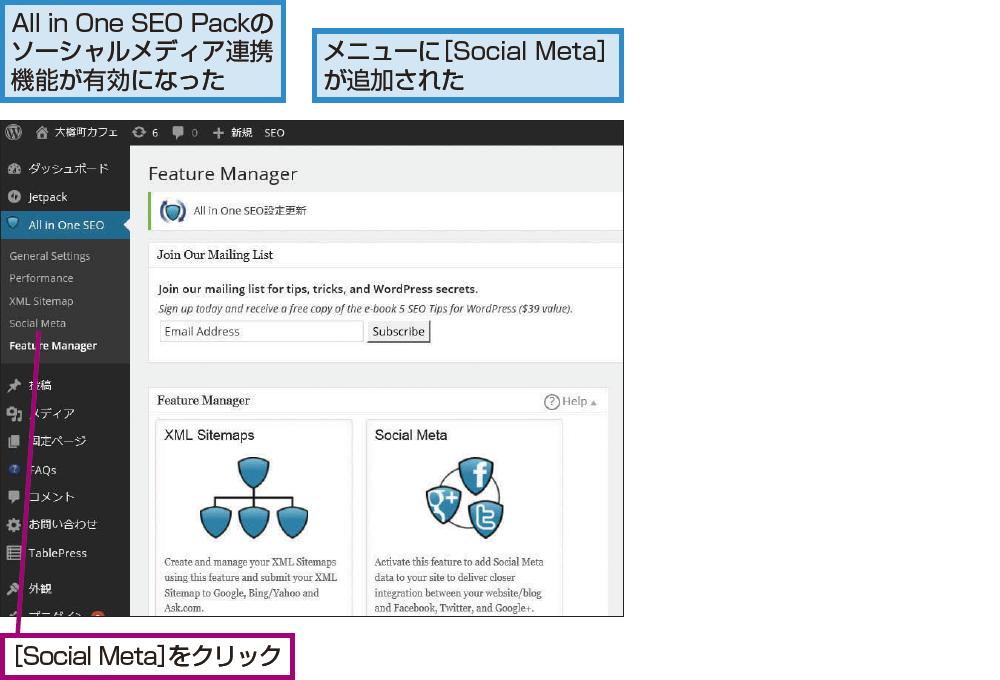[Social Meta]画面を表示する