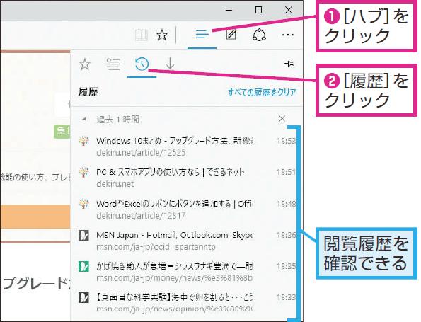 Microsoft Edgeの閲覧履歴を確認する方法   Windows 10   できるネット