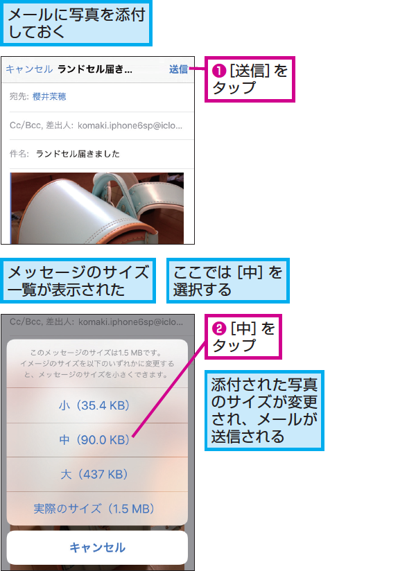 Iphoneでメールに添付する写真を縮小する方法 できるネット