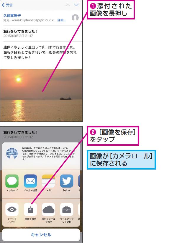 Iphoneの メール で添付の画像を保存 コピーする方法 できるネット