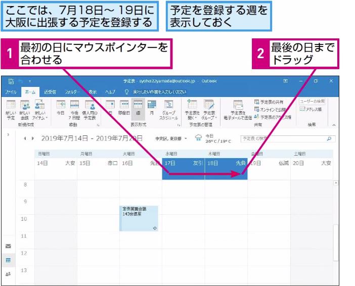 Outlookで数日にわたる予定を登録する方法 | できるネット