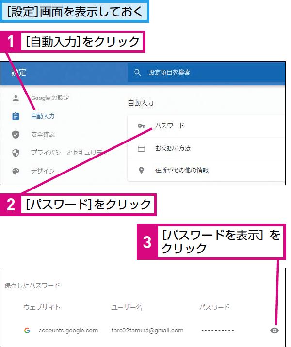 Google Chromeに保存したパスワードを表示する方法