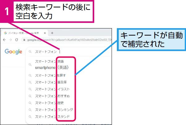 Google検索でキーワードの候補を表示する方法