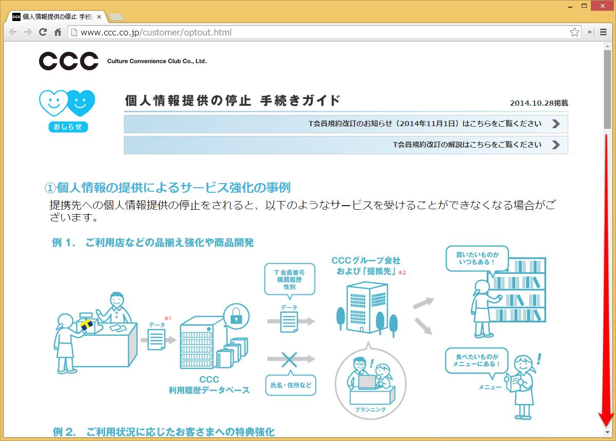 「個人情報提供の停止 手続きガイド」にアクセス