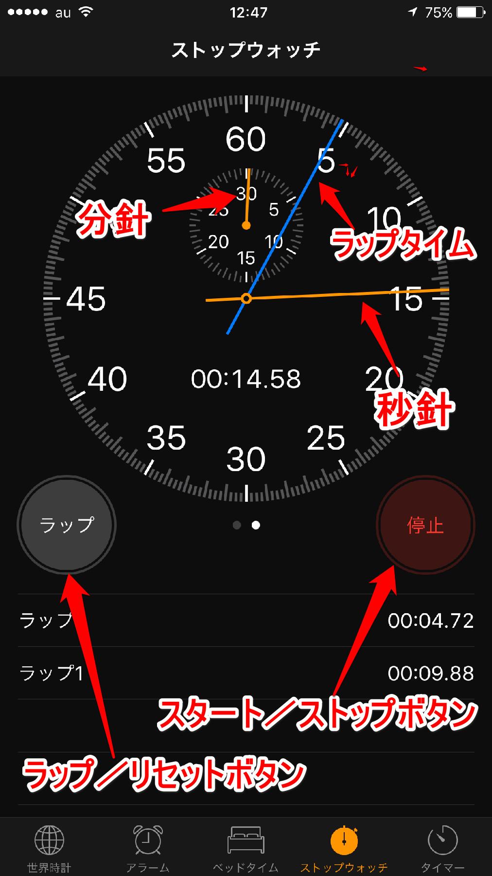 iPhoneの[時計]アプリのストップウォッチのアナログ表示画面その2