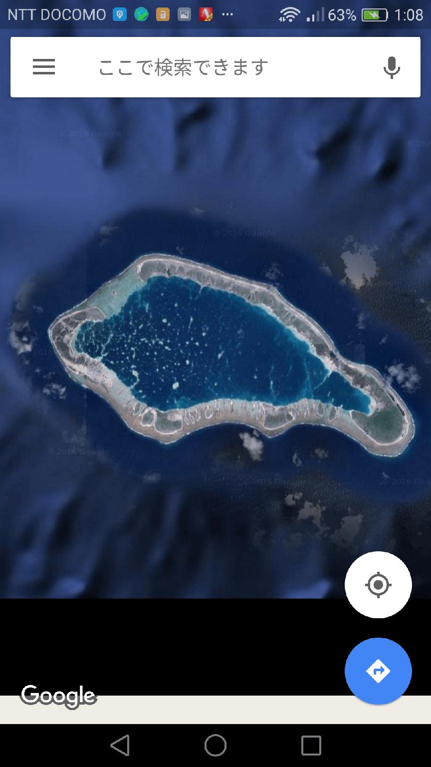 [マップ]で地図を表示した画面