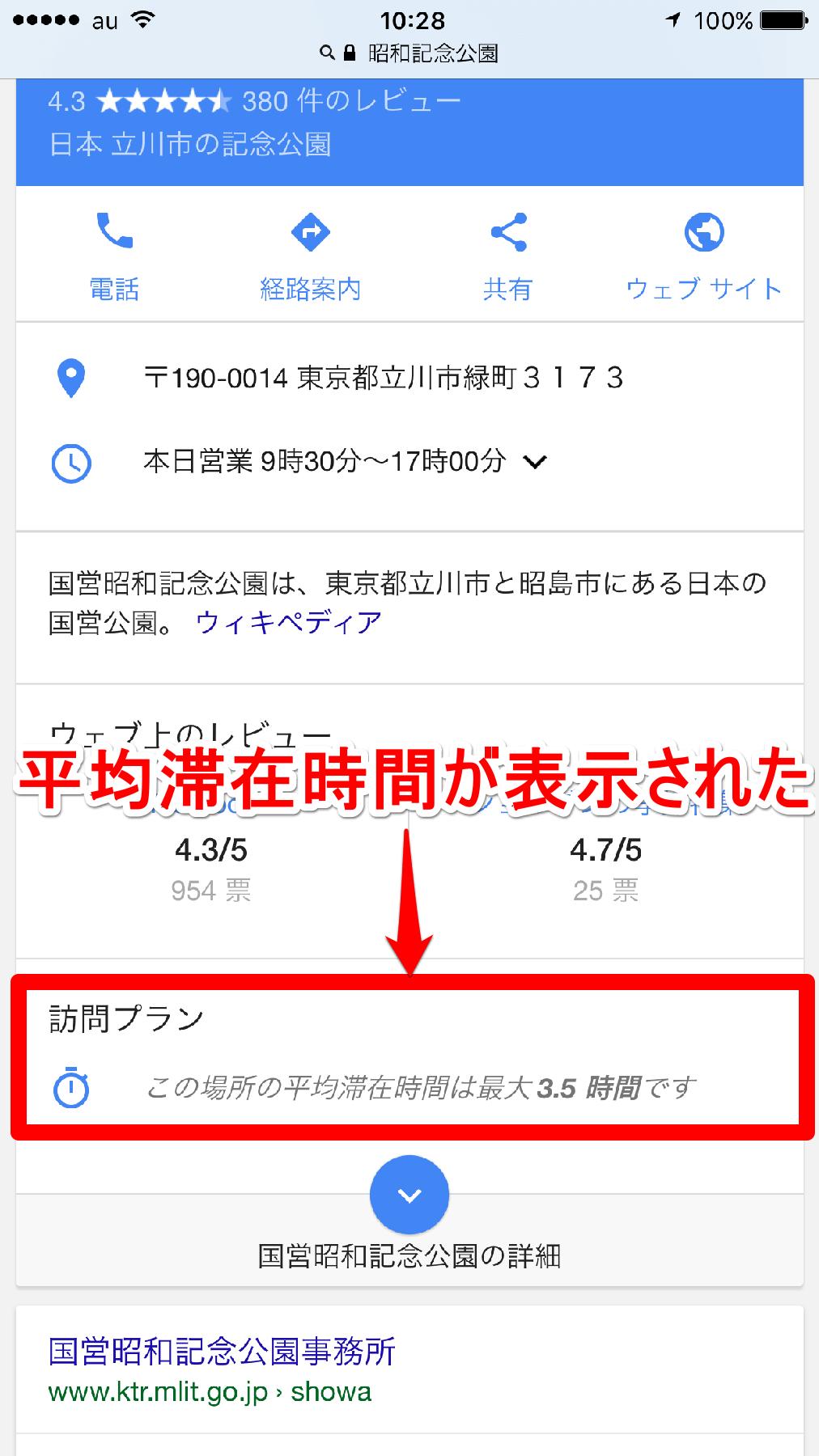 グーグル検索で平均滞在時間が表示された