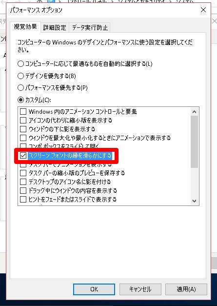 ウィンドウズ10の[パフォーマンスオプション]画面(カスタム)