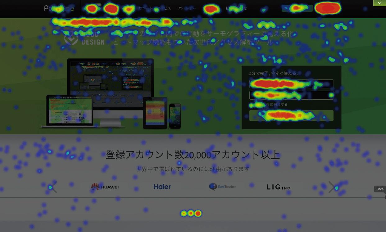 クリックヒートマップ(Ptengine)