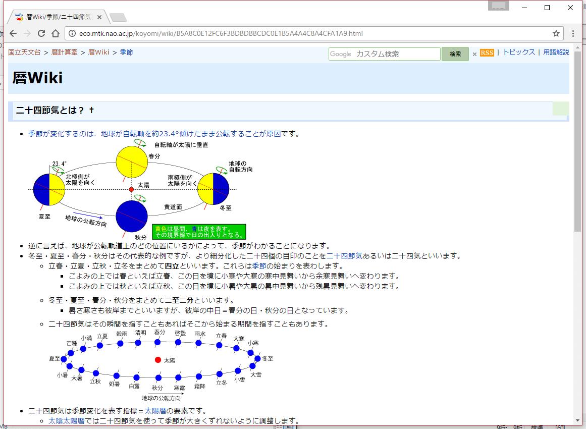 「暦Wiki」の画面