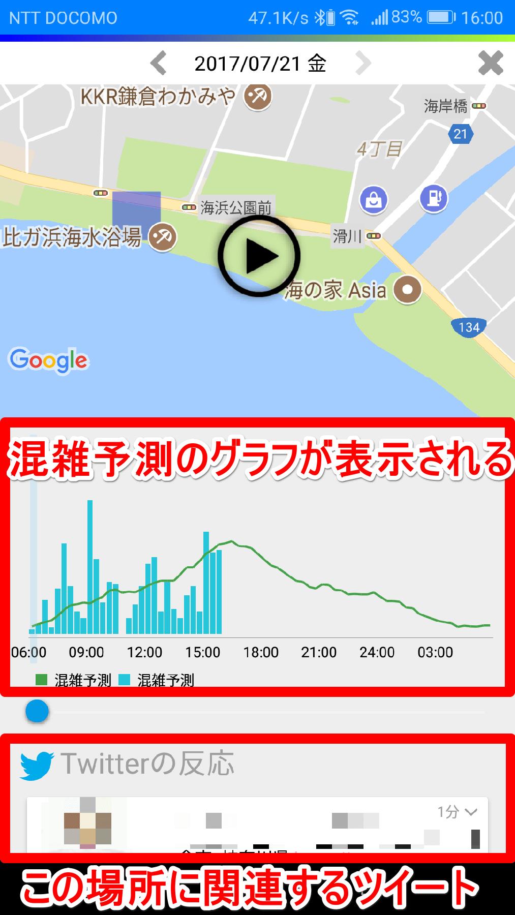 [混雑マップ]アプリで混雑予測のグラフを表示した画面