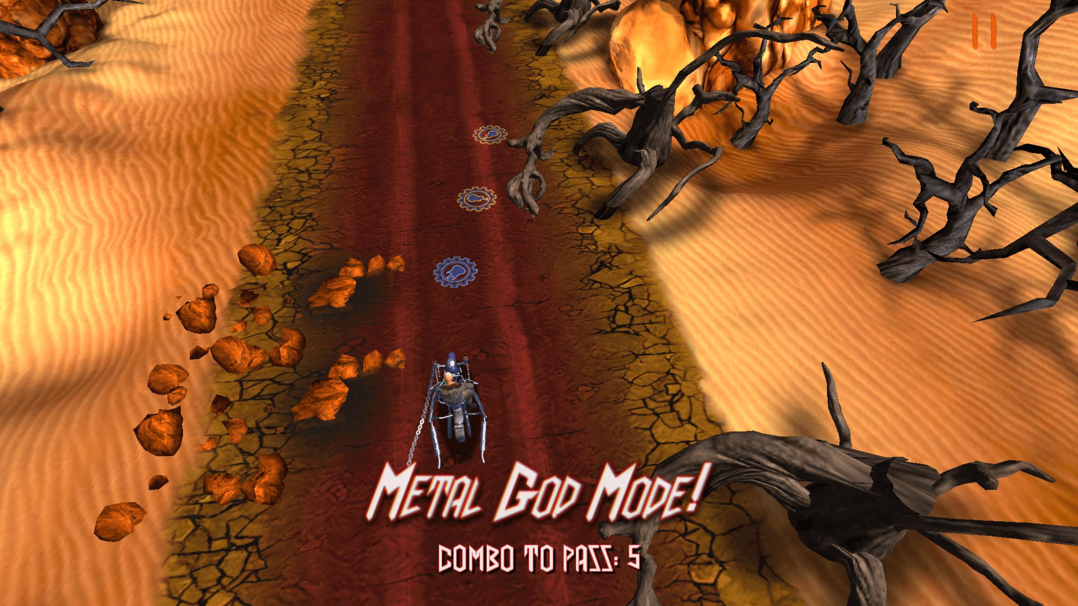 Judas Priest(ジューダス・プリースト)の[Road to Valhalla]ゲームのメタルゴッドモード(METAL GOD MODE)の画面