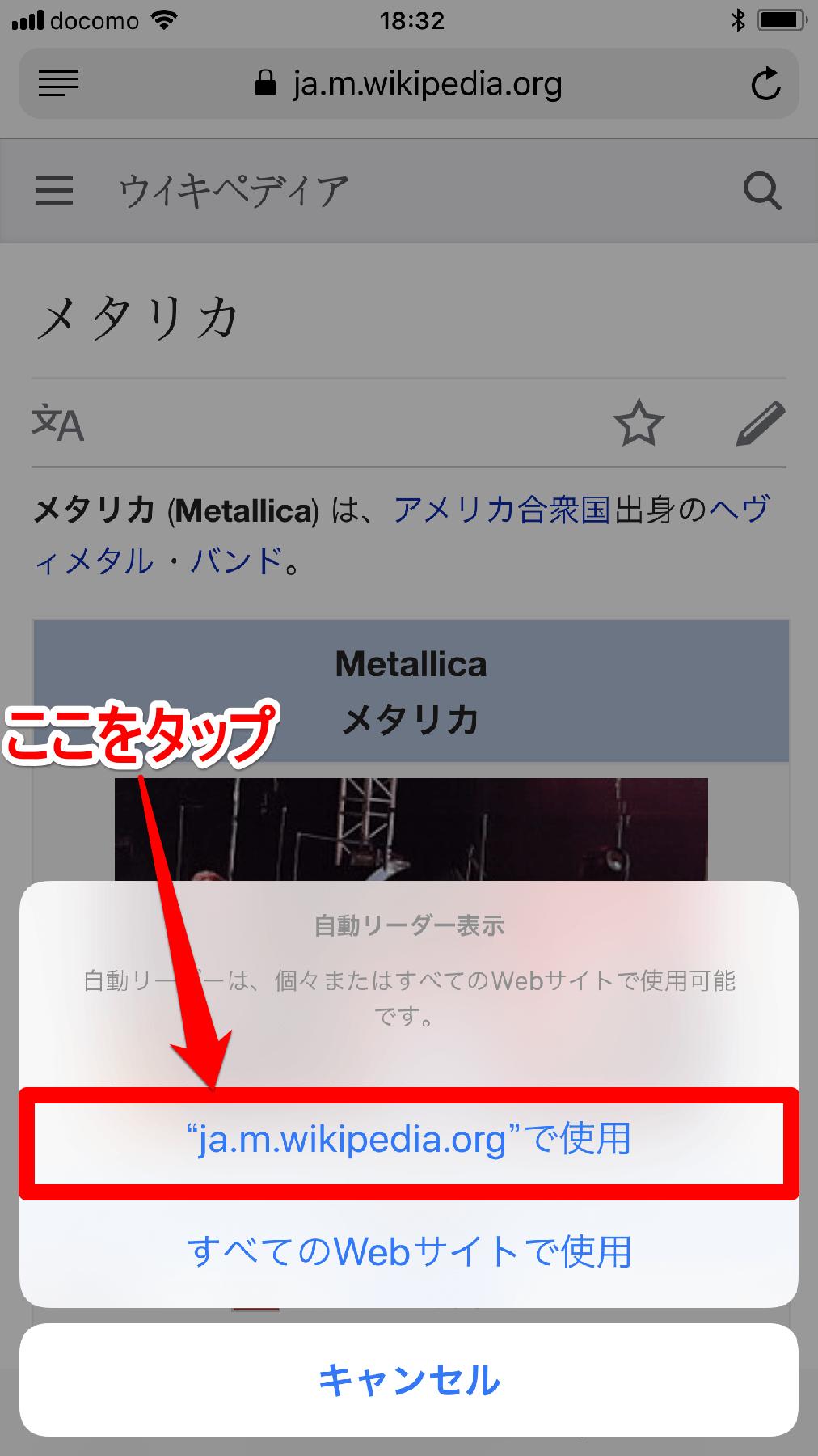 iPhone(アイフォン、アイフォーン)の[自動リーダー表示]画面