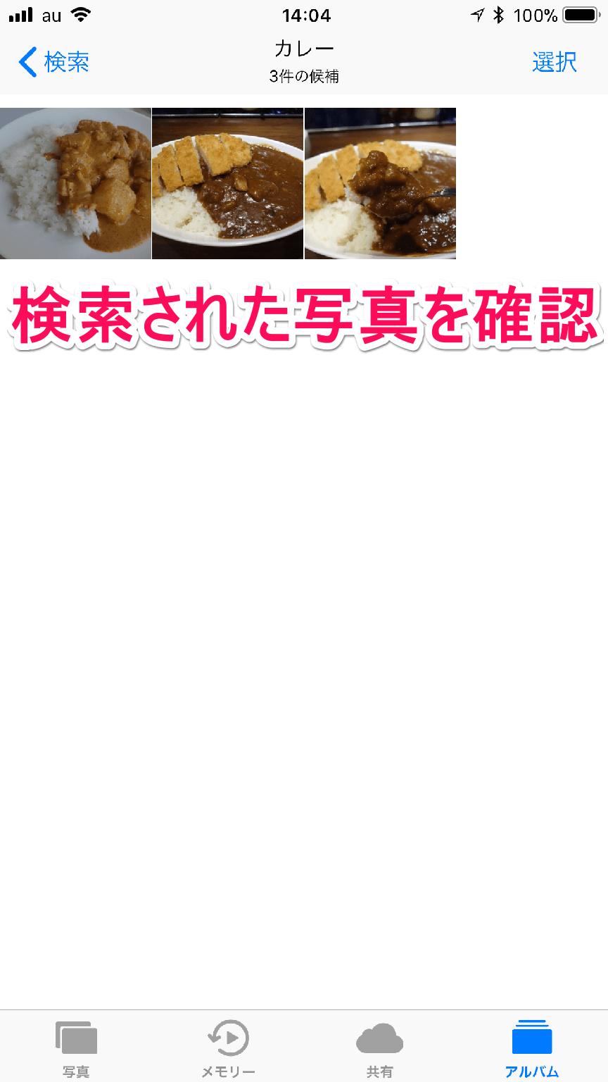 iPhone(アイフォーン)の[写真]アプリの検索結果を確認している画面