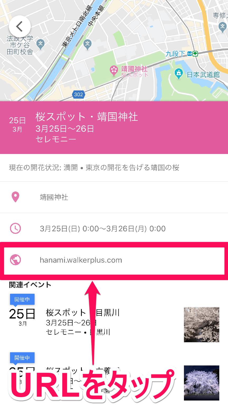グーグルマップ(Google地図)の桜スポット詳細画面