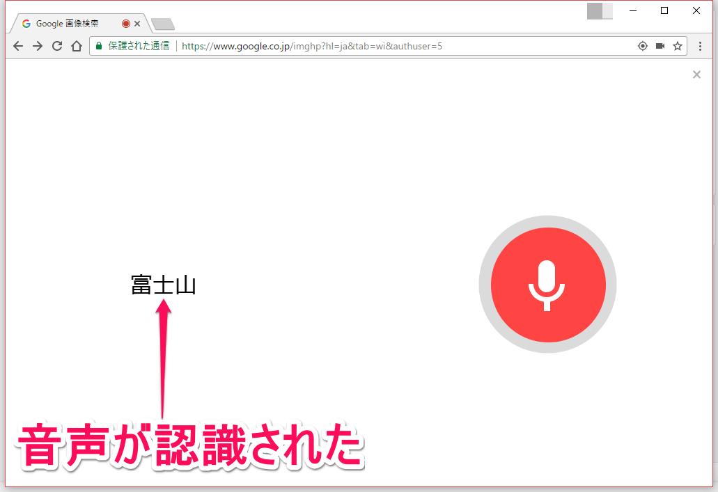 グーグル(Google)画像検索の音声入力で、音声が認識された画面