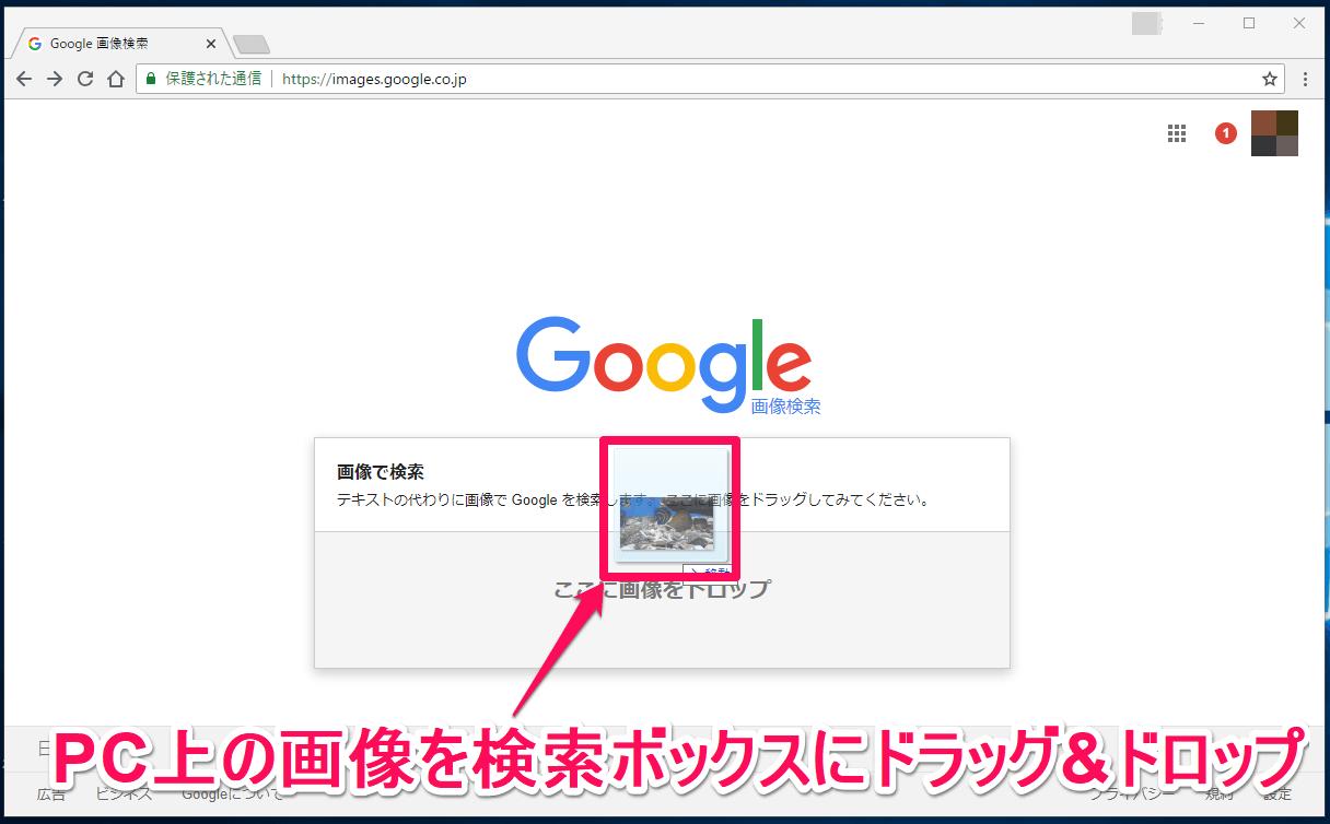 Google(グーグル)画像検索でファイルを検索窓にドラッグする画面