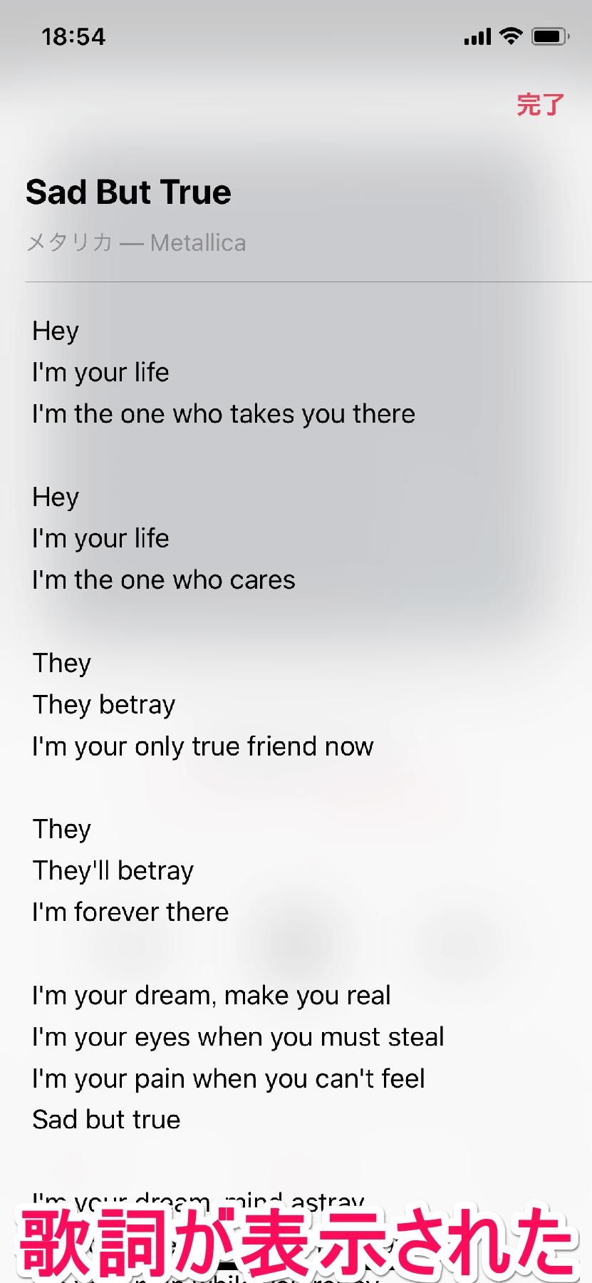 iPhone(アイフォーン、アイフォン)の[ミュージック]アプリで再生している楽曲の歌詞が表示された画面