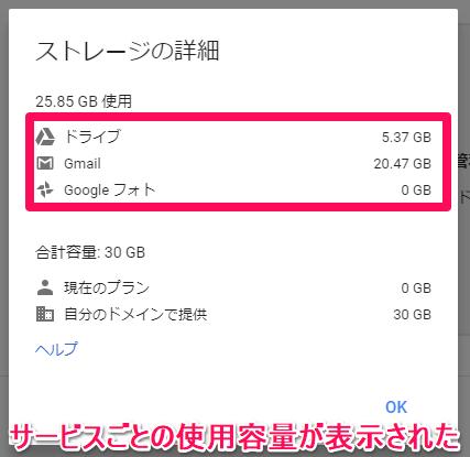 Googleドライブ(グーグルドライブ)の[ストレージの詳細]画面