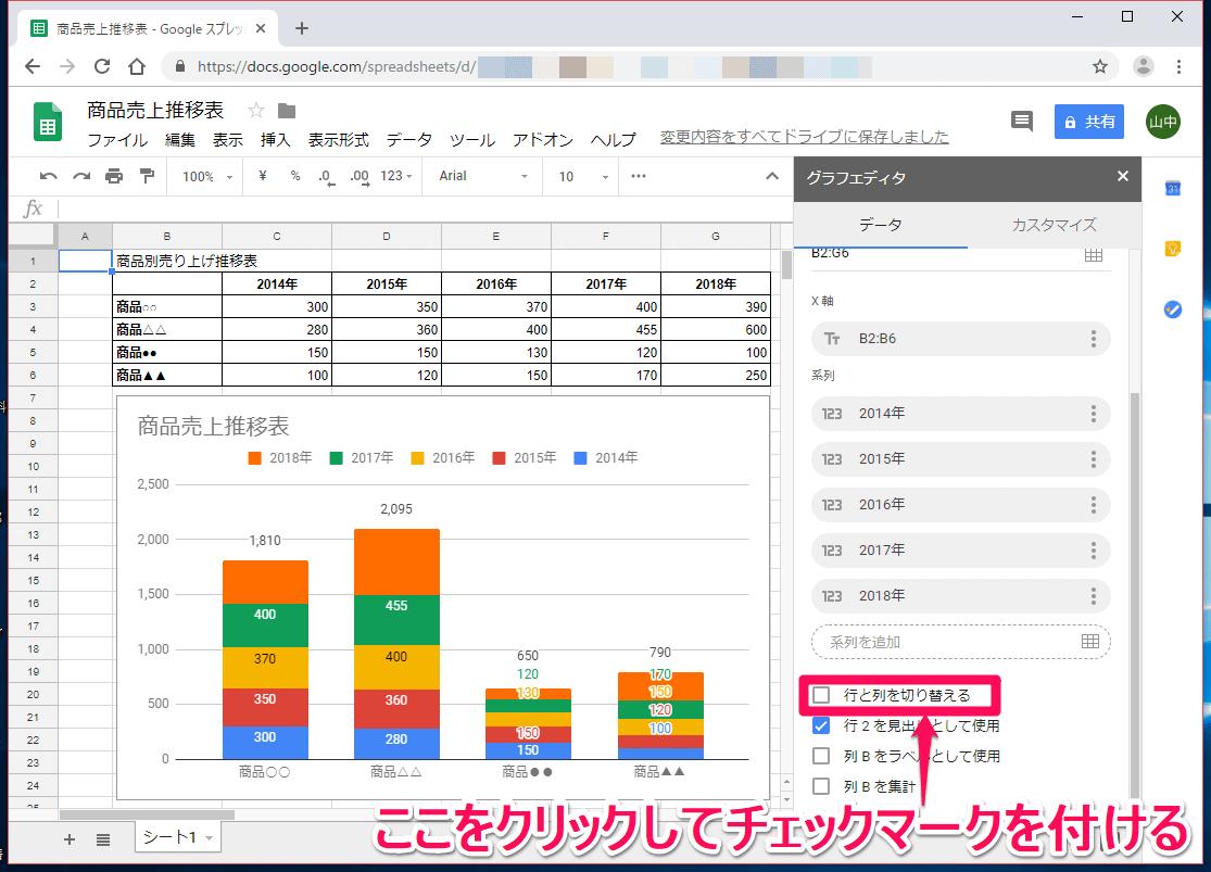 Googleスプレッドシート(グーグルスプレッドシート)の[グラフエディタ]で[表と列を切り替える]を選択する画面