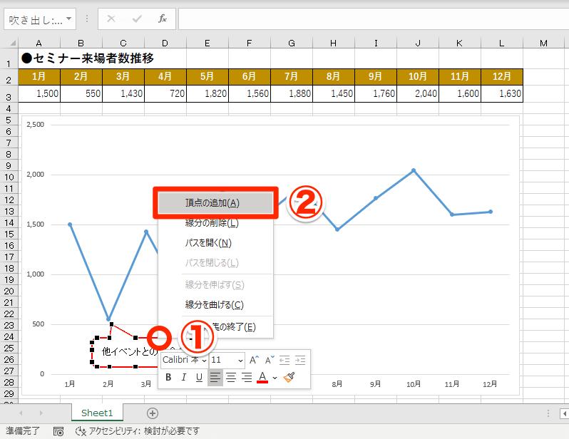 【エクセル時短】吹き出しで2か所を指し示すには? 図形をカスタマイズできる[頂点の編集]を使う