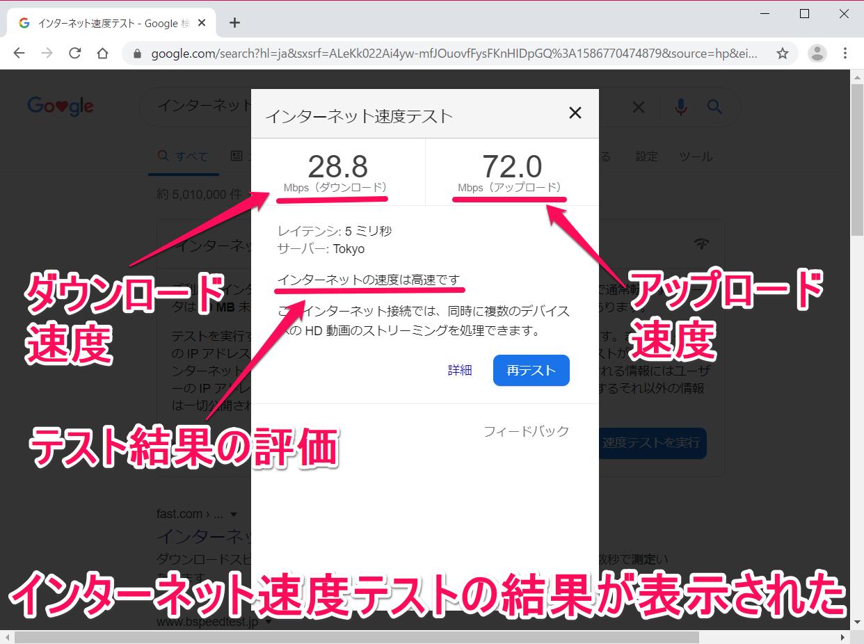 Google(グーグル)のインターネット速度テストの結果画面