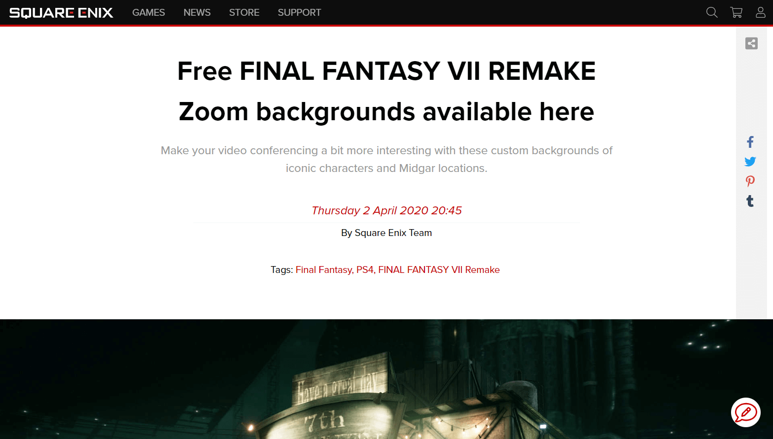 Free FINAL FANTASY VII REMAKE Zoom backgrounds available to download | Square Enix Blog