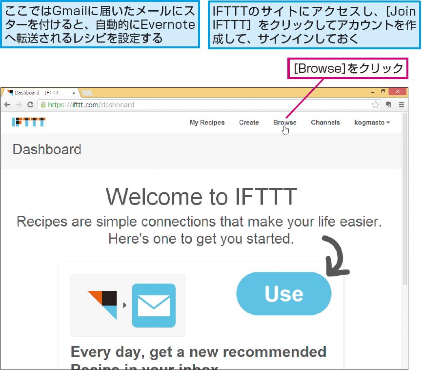 操作解説:IFTTTでレシピを検索する準備をする