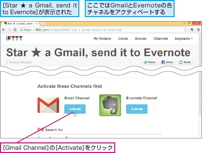 操作解説:Gmailチャネルのアクティベートを開始する
