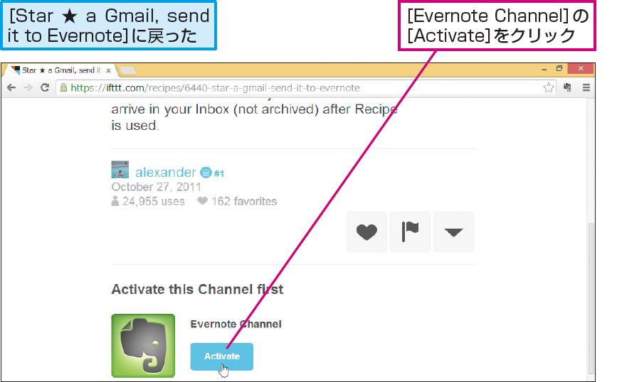 操作解説:Evernoteチャネルのアクティベートを開始する